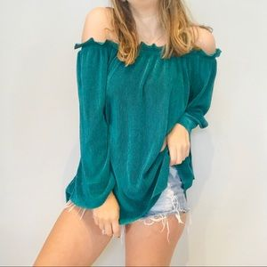 J.O.A. Green pleated off shoulder blouse
